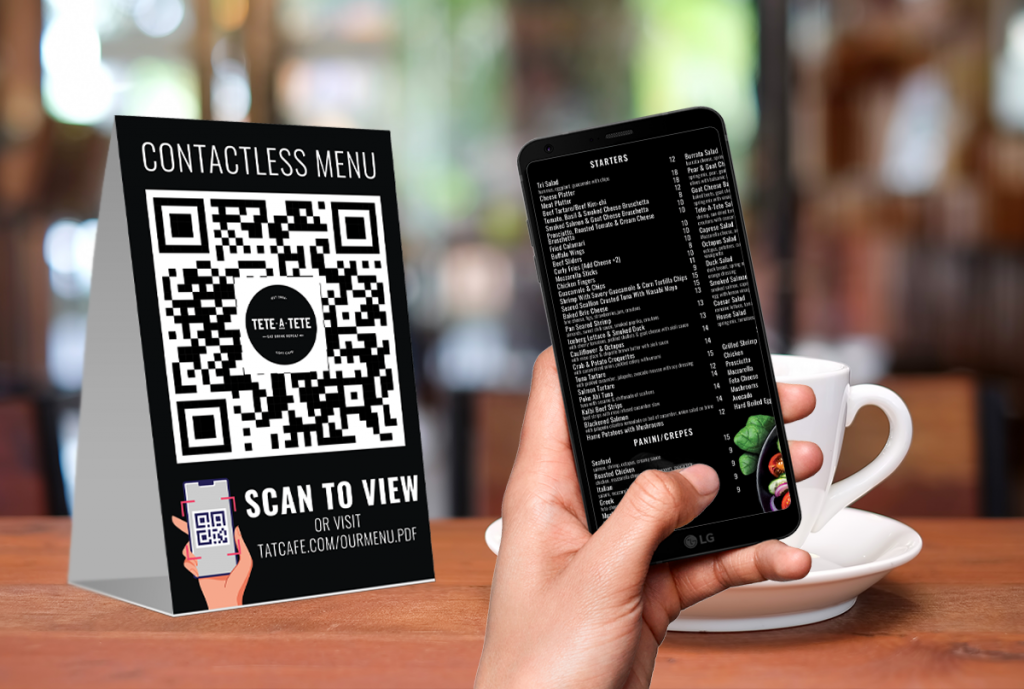 QR Codes For A Digital Menu Setup By Media Explode At Tete-a-Tete Cafe in Brooklyn, NY